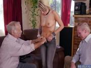 Presley Party swallows an old horny cock deep throat