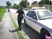 Busty cops pleasing big black cock threesome