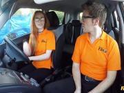 A Super hot redhead Ella Hughes fucked in car