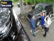Busty blonde milf gets banged roughly in tow truck