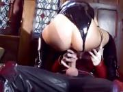 Really hot brunette sucks him off before squatting her cunt down on him...