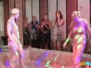 Kinky lesbian paint wrestling fun