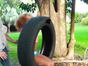 Dude bangs ebony teen outdoor
