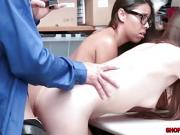Shoplifters Arielle and Jasmine gets a 3some sex