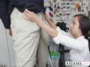 Asian hottie takes clothing fitting to another level