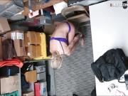 Hot blonde thief convinced to fuck LP officer in LP office