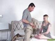 Step dad fucks Sophie Sativas pussy on top