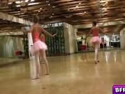 Sexy ballerinas spread her legs to have a finger blast
