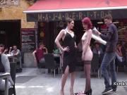 Redhead gets pussy banged in lezdom in public