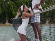 Hot teen drops to her knees for tennis instructor...