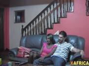 Interracial couple having amazing time