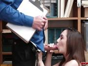Petite shoplifter Lily drilled by a giant dick