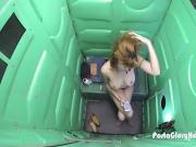 Super hot redhead Milf finds gloryhole in park and sucks
