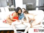 Huge juggs stepmom and cute teen threesome on the couch