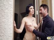 Sexy woman Olive Glass gets pounded by collecting agent