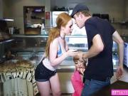 Hot threesome sex on the fries store with Ella and Kayla