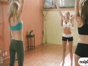 Hot big boobs blond coach teaches 2 babes yoga exercise