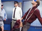 Huge boobs redhead fucks in crowded office