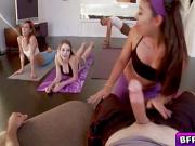 Gorgeous BFF babes in a sizzling yoga orgy