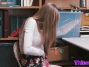 Thief Dolly gives blowjob and pounds in office