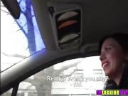 Hot brunette Vicky pays sex for a ride