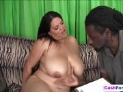 Black dude banging girl with big tits
