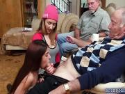 Teen sluts Gigi and Sally fucks with old neighbors