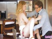Luscious blondie teen babe Lanna Carter screwed on a table