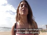 Nude slut seduced cop on the beach