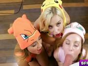 Hot trainer loves fucking with 3 sexy Pokehoes