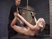Flexible blonde slave gets huge dick in bondage