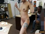 Short hair woman fucked by pawn guy while BF watches