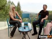 Swingers get together for meet and greet by the pool