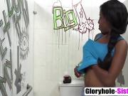 Ebony babe Brie Simone gives glory hole blowjob