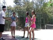 Redhead tennis player boned by her coach with her friend