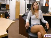 Sexy babe convinced to fuck by pawn man at the pawnshop