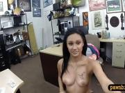 Brunette amateur fucked by pawn keeper at the pawnshop