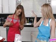 Baking teen hotties go full lesbian in the kitchen