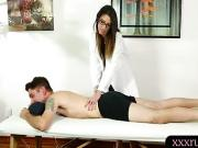 Busty masseuse fucked by nasty client on massage table